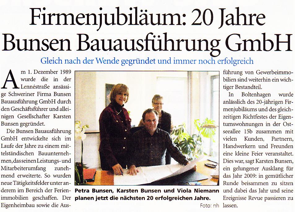 Firmenjubiläum: 20 Jahre Bunsen Bauausführung GmbH